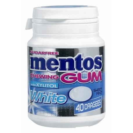 Bottle MENTOS GUM WHITE Sweet Mint 40p x6