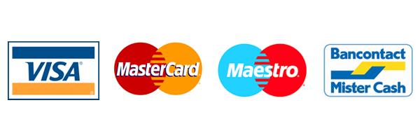 Visa, MasterCard, Maestro, Bancontact, Mister Cash